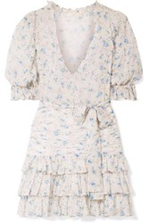 Loveshackfancy Hannah Ruffled Tiered Floral Print Silk Georgette Mini Dress Off White
