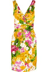 Theia Pleated Floral Print Satin Dress Yellow