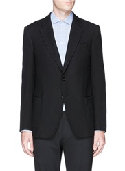 Armani Collezioni Notch Lapel Boucle Wool Blazer Black