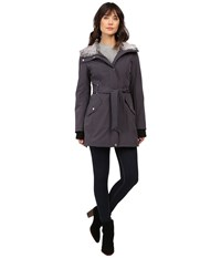 Jessica Simpson Faux Fur Lined Hood Belted Softshell Steel Women's Coat Silver