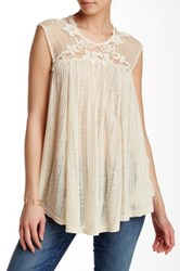 Ryu Semi Sheer Cap Sleeve Lace And Mesh Top White