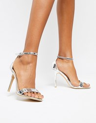 Glamorous Silver Mirror Barely There Heeled Sandal Silver Mirror