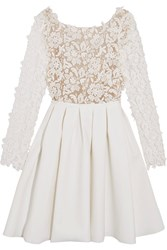 Rime Arodaky Clover Embroidered Tulle And Cady Mini Dress White