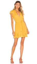 1.State 1. State Button Down Asymmetrical Ruffle Dress In Yellow. Gold Sun