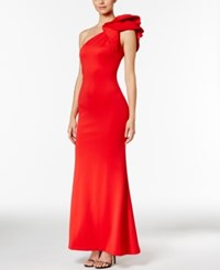 Betsy And Adam Ruffled One Shoulder Scuba Gown Red