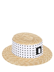 Kreisi Couture Straw Hat Polka Dot Printed Hatband Natural White