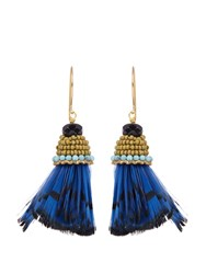 Etro Bead And Feather Embellished Drop Earrings Blue Multi
