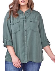 Addition Elle Love And Legend Solid Casual Button Down Shirt Green