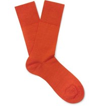 Falke Airport Stretch Virgin Wool Blend Socks Orange