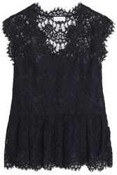 Claudie Pierlot Cotton Blend Corded Lace Peplum Blouse Midnight Blue