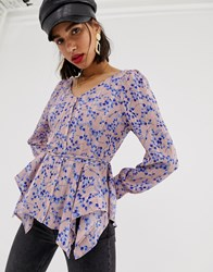 Lost Ink Blouse In Romantic Floral Print Pink