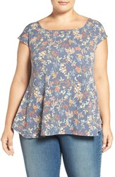 Dantelle Plus Size Women's Square Neck Print Swing Top