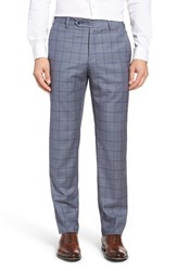 Zanella Men's Flat Front Windowpane Wool Trousers Medium Blue