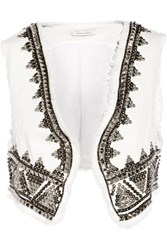 Balmain Pierre Embellished Denim Vest White