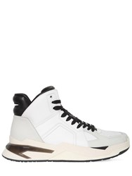 Balmain High Top Leather Basketball Sneakers White