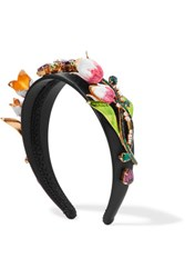 Dolce And Gabbana Gold Tone Enamel Swarovski Crystal Embellished Satin Headband Black