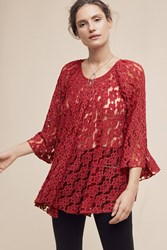 Anthropologie Teleza Lace Swing Top Red