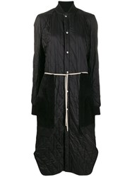 Rick Owens Long Quilted Coat Black