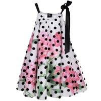 Love Made Love Peonies Dress With Polka Dot And Black Velvet Ribbon White