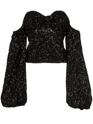 Attico Sequin Knitted Puff Sleeve Top Black