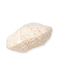 Hat Attack Cable Knit Slouchy Beret Ivory
