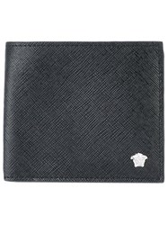 Versace Medusa Head Wallet Men Cotton Leather One Size Black