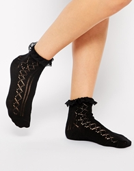 Asos Crochet Lace Frill Socks Black