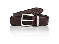 Barneys New York Men's Croc Stamped Leather And Suede Belt Brown