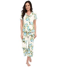 Bedhead Stretch Short Sleeve And Capri Set Blue Hibiscus Women's Pajama Sets