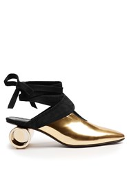 J.W.Anderson Cylinder Heel Leather Mules Gold
