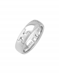 Lc Estate Jewelry Collection Classic 18K White Gold H Band Ring Size 6.75