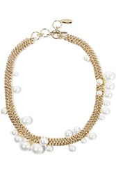Lanvin Gold Tone Faux Pearl Necklace One Size