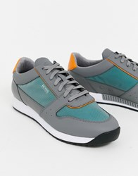 Boss Sonic Grey Trainers With Green Mesh In Grey