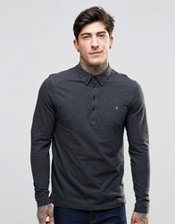 Farah Polo Shirt With Long Sleeves In Slim Fit Grey Coal Marl