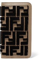 Fendi Flocked Leather Iphone X Case Brown Gbp