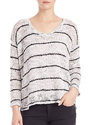 Splendid Broome Striped V Neck Sweater White
