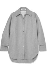 Acne Studios Sarwin Oversized Wool Blend Flannel Shirt Gray
