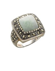 Lord And Taylor Sterling Silver Marcasite Square Jade Ring