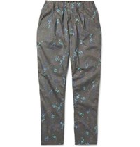 Nonnative Manager Easy Tapered Floral Print Cotton Trousers Charcoal