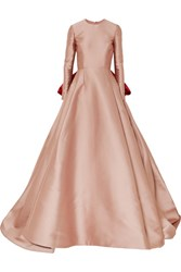 Reem Acra Bow Detailed Satin Gown Pink