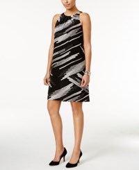 Alfani Pleat Neck A Line Dress Only At Macy's Black White