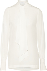 Givenchy Pussy Bow Blouse In Ivory Silk Crepe De Chine