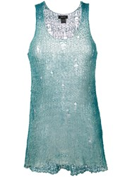 Avant Toi Distressed Knitted Vest Women Silk Cotton One Size Green