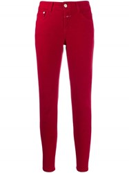 Closed Five Pocket Design Trousers Red
