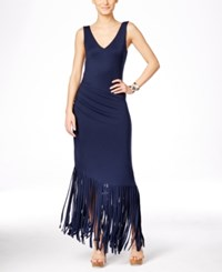 Inc International Concepts Petite Asymmetrical Fringe Hem Maxi Dress Only At Macy's Deep Twilight