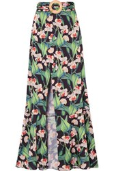 Patbo Belted Wrap Effect Floral Print Crepe Maxi Skirt Black