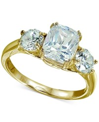 Giani Bernini Cubic Zirconia Triple Stone Statement Ring In 18K Gold Plated Sterling Silver Created For Macy's
