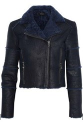 J Brand Woman Aiah Cropped Washed Shearling Biker Jacket Midnight Blue