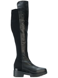 Albano Chunky Knee High Boots Calf Leather Leather Nylon Rubber Black