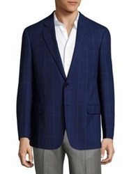 Armani Collezioni Windowpane Wool Jacket Solid Blue